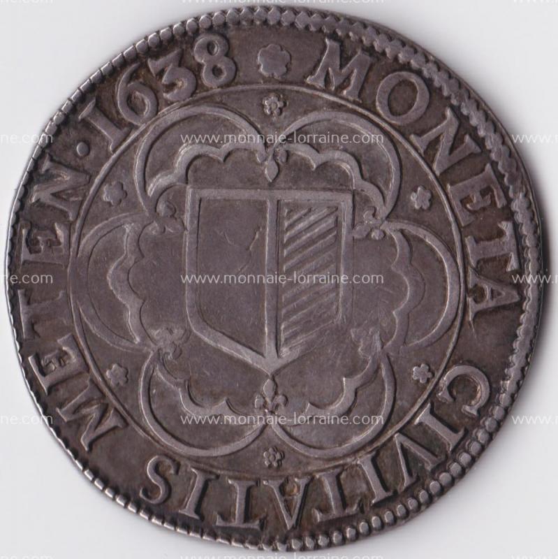 1638  thaler de metz aigle ecu carré