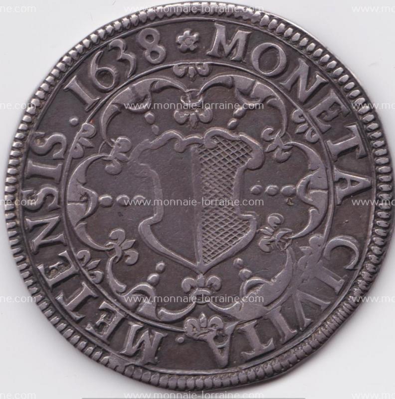 1638 r thaler de metz saint etienne en buste 1