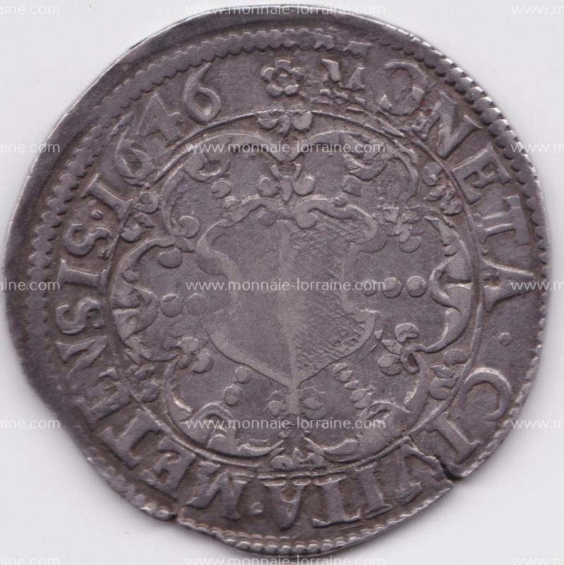 1646 v r buste fin thaler de metz saint etienne en buste