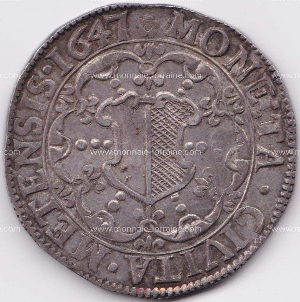 1647 r thaler de metz saint etienne en buste 1