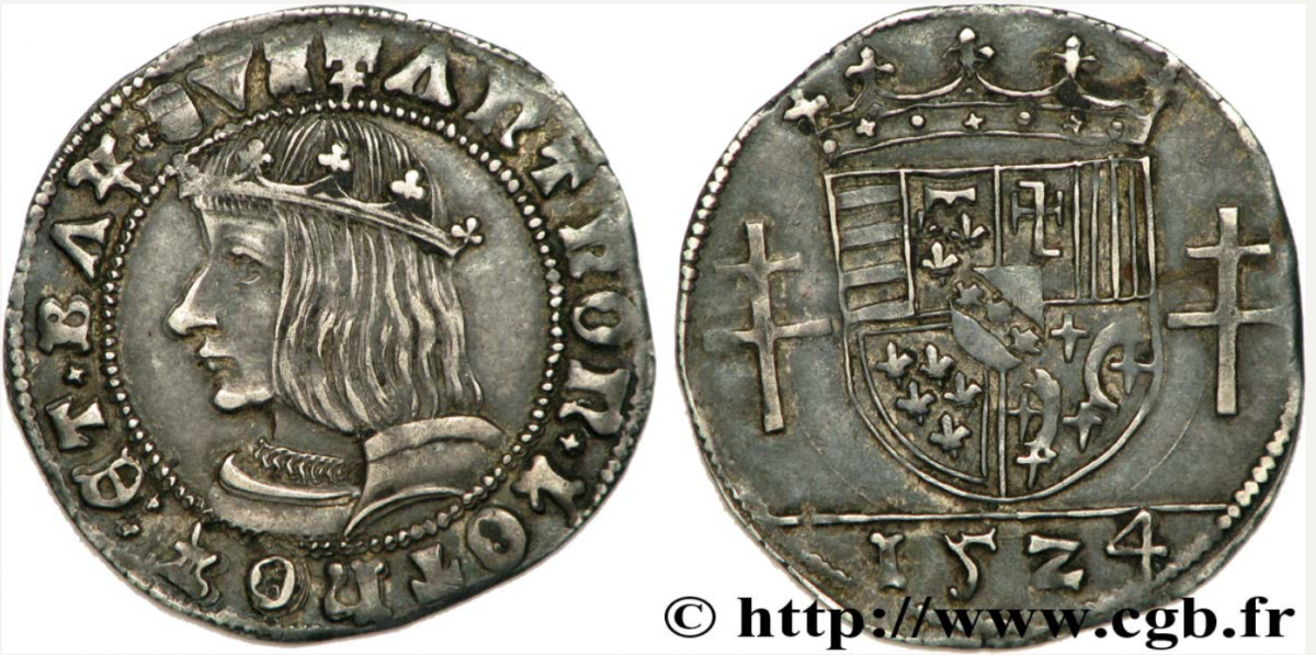 Quart de teston d'antoine 1524